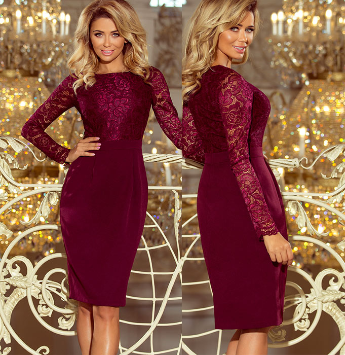 Rochii de cocktail bodycon dantela burgundy